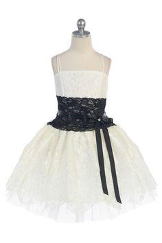 Ivory/Black Lace short Flower Girl Dress G3166IV $53.95 on www.GirlsDressLine.Com