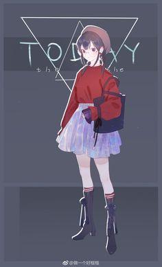 Anime Girl Cute, Kawaii Anime Girl, Anime Art Girl, Anime Chibi, Manga Anime, Character Art, Character Design, Cute Art Styles, Cute Chibi
