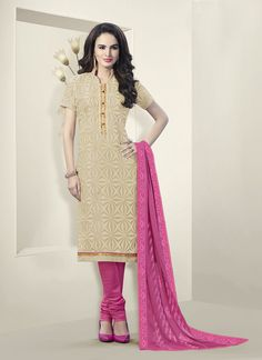 Beige Churidar Suit Wholesale Collection With Georgette Febric
