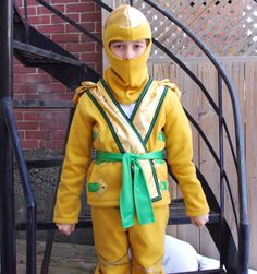 Golden Ninjago Costume top and hat only SIZE 8 by CatherineSoucy