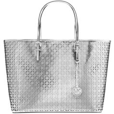 MICHAEL Michael Kors Flower Tote Leather Handbag, Silver (485 CAD) ❤ liked on Polyvore