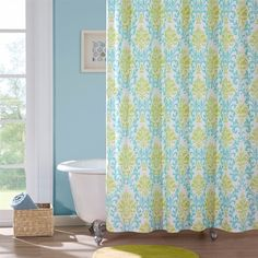 Katelyn is the perfect way to add color and fashion to your bathroom.  This shower curtain brings in a great combination of turquoise blue with an apple green color to create this fun damask pattern.  The pattern is printed on super soft micro-fiber and will keep its vibrant color after many washes.