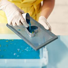 Use cookie cutters to make paper in interesting shapes: Set the cookie cutter on top of the mold screen and spoon or pour paper pulp into it. Allow it to drain for a minute, remove the cookie cutter, and transfer the paper shape to the towel blotter.