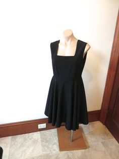 90s vintage black skater dress Lbd black dress by extraextrashop