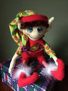 Green and Red Plush Christmas Elf Doll by AmbersElves on Etsy, $28.00