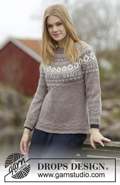 "Knitted DROPS fitted jumper with round yoke, Nordic pattern and purl stitches, worked top down in ""Karisma"". Size: S - XXXL. ~ DROPS Design"