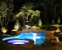 LED lit pool with waterfall (Dream Pools)