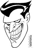This Batman coloring page to print show one of the most famous faces in the popular Dc comics Batman universe - the Joker Face! The colouring sheet is drawn so that the face of the Joker villain take up almost the entire page when printed.