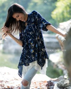 Grace and Lace - (**new item**) Peasant Tunic in Navy Floral, $44.50 (http://www.graceandlace.com/all/new-item-peasant-tunic-in-navy-floral/)