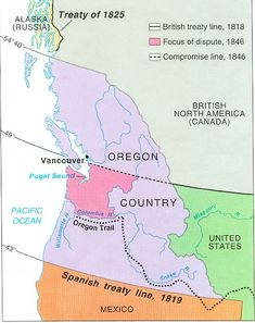 The Oregon Trail opened in when Marcus Whitman and his wife (missionaries attempting to convert the Indians) proved wagons could travel into the territory. History Education, World History, Oregon Territory, British America, Wild West Cowboys, Oregon Trail, American Frontier, He Is Able, Historical Maps
