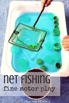 Best Toys 4 Toddlers - Super simple net fishing activity for toddlers and older kids with items from recycle bin, and everyone's favorite: water! Great for fine motor play and fun!
