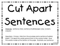 Cut apart sentences - Re-pinned by #PediaStaff.  Visit http://ht.ly/63sNt for all our pediatric therapy pins