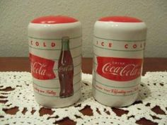 "Coca-Cola Salt and Pepper Shakers by Gibson by Gibson. $17.99. Made by Gibson; Coca-Cola salt and pepper shakers.; Ceramic; Ice Cold Refreshing style; Measures 3 1/4"" tall.. Cute Coca-Cola salt and pepper shakers by Gibson.  Ice Cold and Refreshing style.  Made of ceramic material and measures 3 1/4"" tall.  Comes boxed."