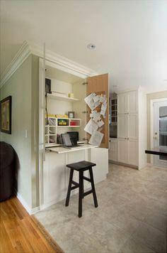 Hidden desk in kitchen
