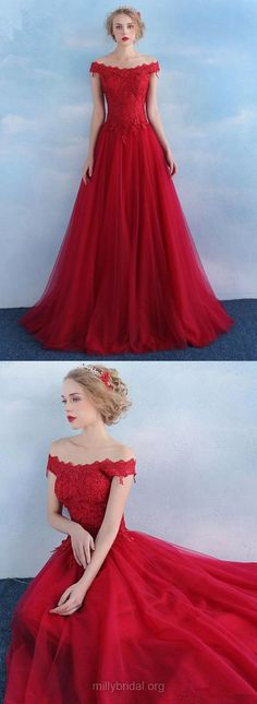 Lace Prom Dresses Red, Princess Party Dresses Off-the-shoulder, Tulle Long Formal Evening Gowns 2018 Modest