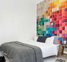 Arc en ciel de couleurs: tete de lit post-it