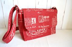 Red cross body bag French script bag small shoulder bag red