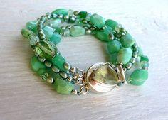 Green chrysoprase bracelet handmade bracelet by ArtfulHummingbird, $225.00