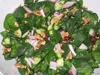 Yummy spinach salad made with fresh, clean winter CSA spinach! :)
