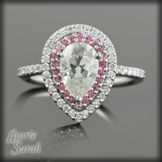 Pear Moissanite with Pink Sapphire and Diamond double Halo Engagement Ring - the idea.