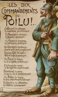 Les dix commandments du Poilu.  WWI en France.