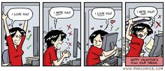 "amandaonwriting: "" Happy Valentine's Day! Writers have a love-hate relationship with their work. Source for Comic: PHD Comics "" Student Memes, Phd Student, Phd Humor, Phd Comics, Funny Blogs, Writing Humor, Academic Writing, Writing Help, Science Jokes"