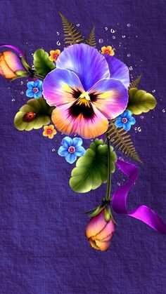 My Dad's favorite flower (pansy) and the flower symbol for alzheimer (forget-me-not) Flower Phone Wallpaper, Butterfly Wallpaper, Wallpaper Backgrounds, Iphone Wallpaper, Wallpapers, Wallpaper Ideas, Pansy Tattoo, Art Fractal, Fractals