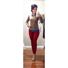 Denim Top & Heels: Forever 21 | V-neck Sweater: Fashion Q | Pants: H&M