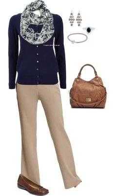 """Navy and khaki work"" by christij327 on Polyvore"