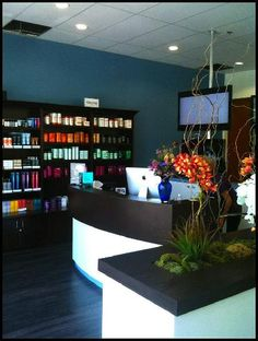 Example of keeping the color pallet simple but having shelving and desk very streamlined...