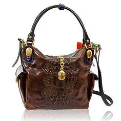 Marino Orlandi Italian Designer Brown Alligator Leather Large Crossbody Handbag