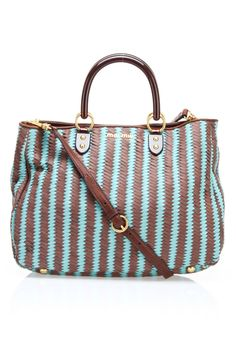 Shoulder Bag In Brown & Aqua.