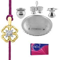 Jpearls Simple Puja Thali Hamper For Raksha Bandhan   Diamond Studded Gold Rakhi   Silver plate   Silver Kalash, Kum Kum Dabbi #silverplate #puresilver #silveraccessories #gifthamper #rakshabandhan #rakhigifts