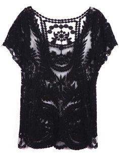 Black Short Sleeve Hollow Crochet Lace Top, 13.33