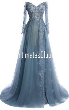 Gray A Line V Neck Tulle Court Train Appliques Lace Long Sleeve Prom Dress