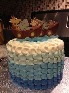 Noah's Ark Baby Shower cake. Blue petal ruffle cake. Tutorial originally found on Cake Central :) porcelain cake topper from Cake Art in Miami, FL