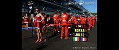 L'hommage de Ferrari à Jules Bianchi lors du Grand Prix de Russie à Sotchi, photo publiée sur Twitter le 12 octobre 2014
