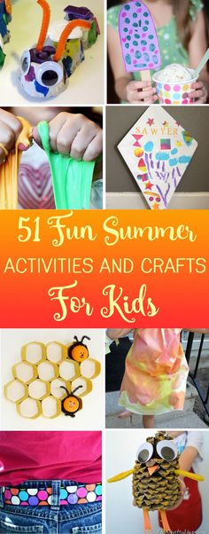 51 Fun Summer Activities and Easy Crafts for Kids.  Mega list of things to do this Summer!