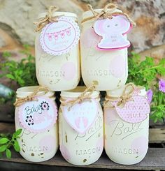 Baby Shower Mason Jar Centerpieces with Tags by charmcitycharm