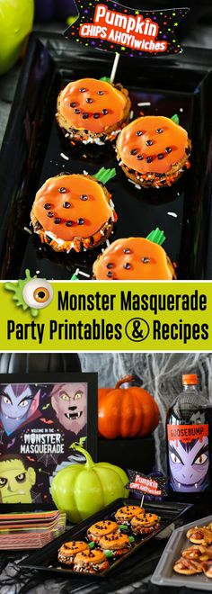 These Pumpkin CHIPS AHOY!wiches are sure to put a smile on your face, even if it is hidden behind a monster mask! Get the easy recipe and free Monster Masquerade themed printables for your Halloween party! Visit GhostessParty.com for more recipes, party ideas & printables.