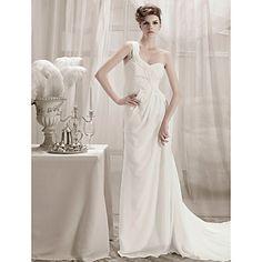 Sheath/ Column One Shoulder Chapel Train Chiffon Wedding Dress – AUD $ 224.01