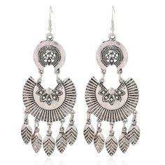 TX Silver Flower Tassel Earring