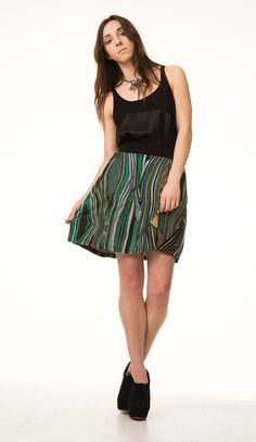 Print skirt by Beki Wilson, owner and designer behind Out of Line