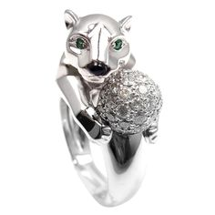 CARTIER Panther Diamond Emerald Black Onyx White Gold Ring