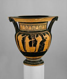 Women gathering apples. Attic Greek terracotta column-krater, Classical period