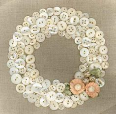 button wreath wedding decoration. Cover a foam ring with the color buttons of your choice and a burlap rose!
