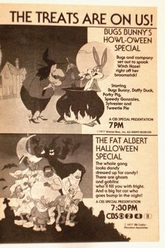 1981 TV Guid page for Halloween specials  Bugs Bunny and Fat Albert Oh the memories!!
