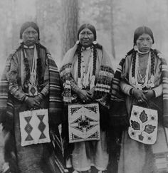 Three Native American women, standing, full-length, facing front, holding beaded bags, Warm Springs Indian Reservation, Wasco County, Oregon. Library of Congress circa 1902