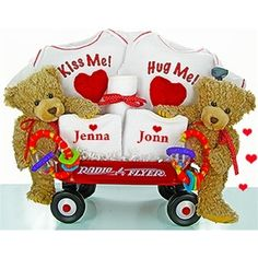 Twin Teddy Bears Wagon Gift Set
