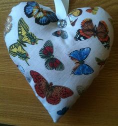Butterfly Fabric Heart Lavender Bag - Handmade in Home, Furniture & DIY, Home Decor, Other Home Decor | eBay
